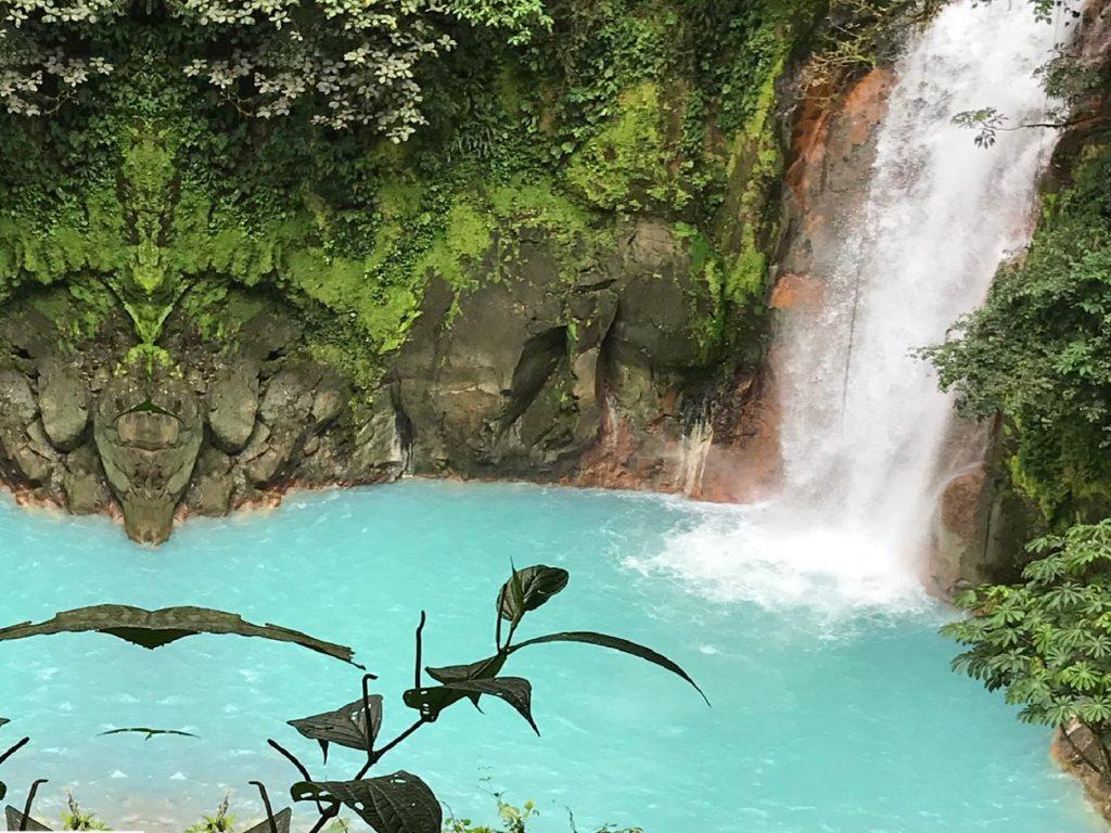 The spectacular waterfall in Rio Celeste in Costa Rica
