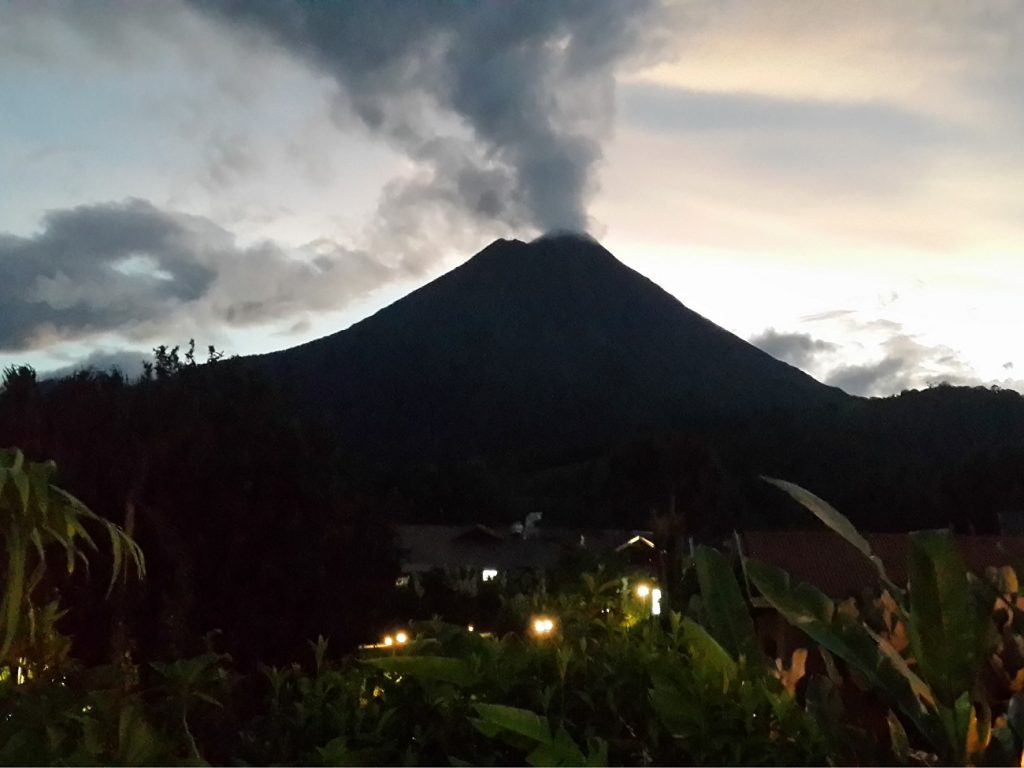 The smoking Arenal Volcano in Costa Rica