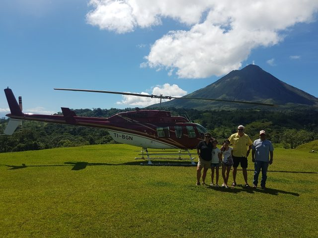Family helicopter ride around Arenal Volcano
