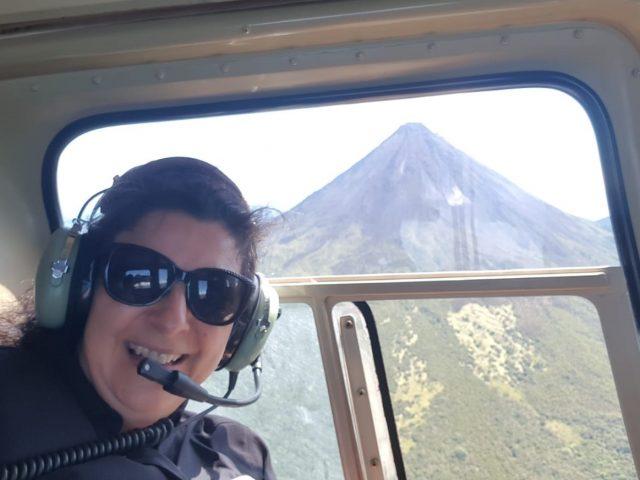 Verónica flying around Arenal Volcano